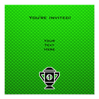 1st Place Trophy; Green Personalized Invite