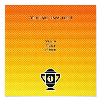 1st Place Trophy; Yellow Orange 13 Cm X 13 Cm Square Invitation Card