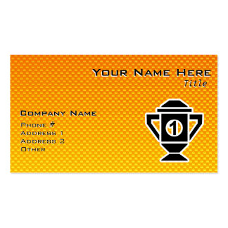 1st Place Trophy; Yellow Orange Business Card Template