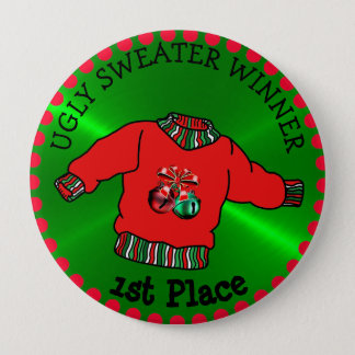 1st Place Ugly Sweater Winner Christmas Gold Medal 10 Cm Round Badge