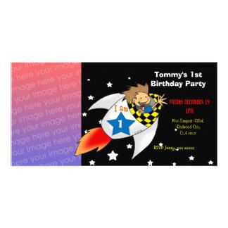 1st rocket birthday boy party invitations personalized photo card