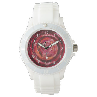 1st-Root Chakra Red Spiral Fabric-Paint #2 Wrist Watch
