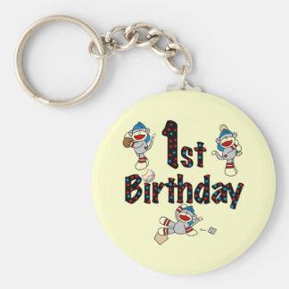 1st Sock Monkey Baseball Birthday Keychains