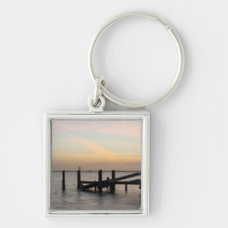1st Sunset 2017 Cocoa Beach Silver-Colored Square Key Ring