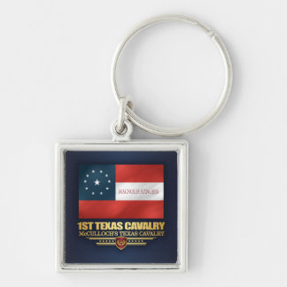 1st Texas Cavalry Silver-Colored Square Key Ring