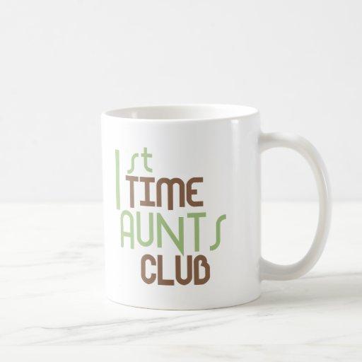 1st Time Aunts Club (Green) Mugs