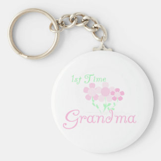 1st Time Grandma Basic Round Button Key Ring