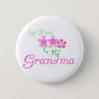 1st  Time Grandma-Pink Flowers 6 Cm Round Badge