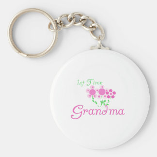 1st  Time Grandma-Pink Flowers Basic Round Button Key Ring