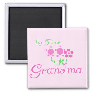 1st  Time Grandma-Pink Flowers Magnet