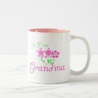 1st  Time Grandma-Pink Flowers Two-Tone Coffee Mug