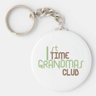 1st Time Grandmas Club (Green) Basic Round Button Key Ring