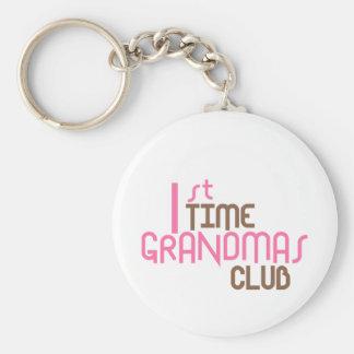 1st Time Grandmas Club (Pink) Basic Round Button Key Ring