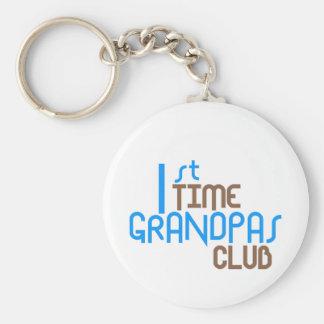 1st Time Grandpas Club (Blue) Basic Round Button Key Ring
