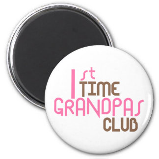 1st Time Grandpas Club (Pink) 6 Cm Round Magnet