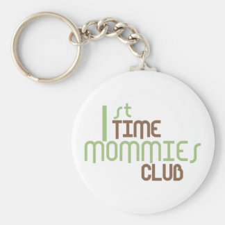 1st Time Mommies Club Green Basic Round Button Key Ring