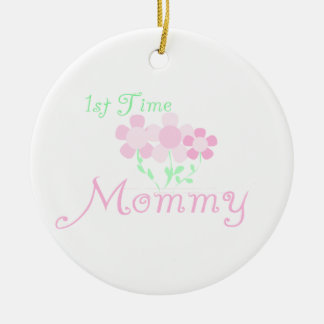 1st Time Mommy Pink Flowers Gifts Round Ceramic Decoration