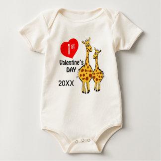 1st Valentines Day Giraffe Theme Romper