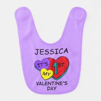 1st Valentine's Day Hearts Baby Bibs