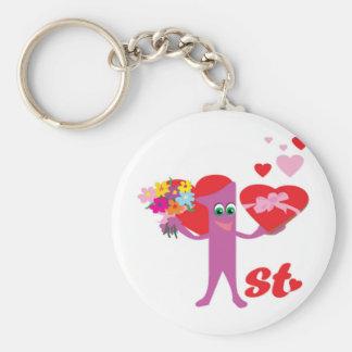 1st Wedding Anniversary Basic Round Button Key Ring