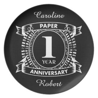 1ST wedding anniversary distressed crest Plate