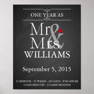 1st wedding anniversary Modern print with dates