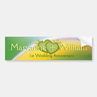 1st Wedding Anniversary Party Decoration Bumper Sticker
