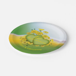 1st Wedding Anniversary Sunshine Yellow Garden 7 Inch Paper Plate
