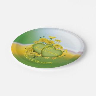 1st Wedding Anniversary Sunshine Yellow Garden Paper Plate