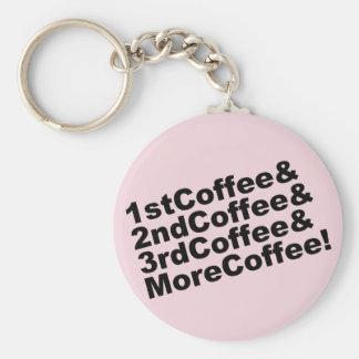 1stCoffee&2ndCoffee&3rdCoffee&MoreCoffee! (blk) Key Ring