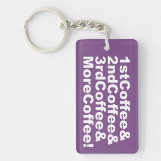 1stCoffee&2ndCoffee&3rdCoffee&MoreCoffee! (wht) Key Ring