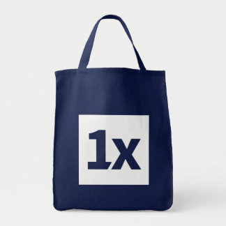 1x blue shopping bag with white 1x logo