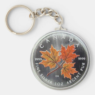 2001 Canada Silver Coin Basic Round Button Key Ring