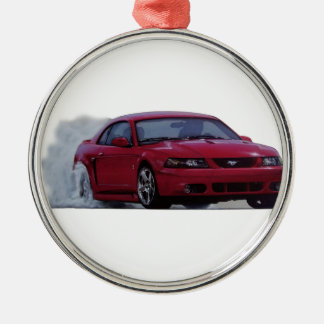 2004 Mustang Cobra Burnout Silver-Colored Round Decoration