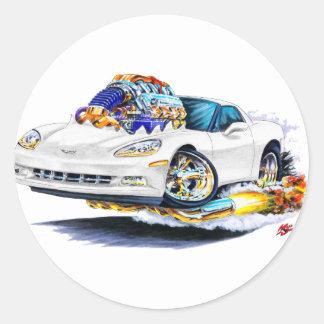 2005-10 Corvette White Car Classic Round Sticker