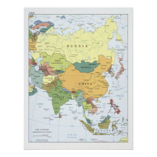 2008 Map of Asia Poster