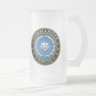 [200] CG: Commander (CDR) Frosted Glass Beer Mug