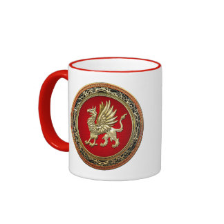 [200] Sacred Gold Griffin Coffee Mugs