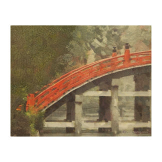 200 TEMPLE RED MOON BRIDGE IN THE RAIN WOOD CANVASES