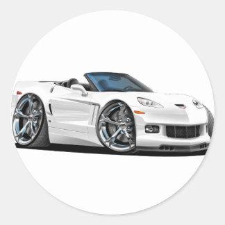 2010-12 Corvette White Convertible Classic Round Sticker