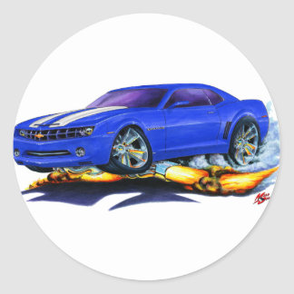 2010 Camaro Blue-White Car Classic Round Sticker