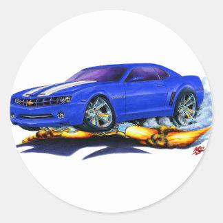 2010 Camaro Blue-White Car Classic Round Sticker