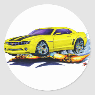 2010 Camaro Yellow-Black Car Classic Round Sticker