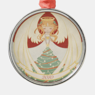 2010 Christmas Angel Silver-Colored Round Decoration