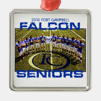 2010 Falcon Seniors Silver-Colored Square Decoration