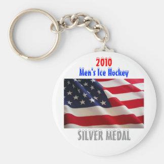 2010 USA Men's Ice Hockey - Silver Medal Basic Round Button Key Ring