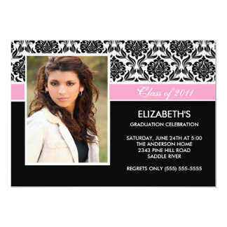 2011 Black Damask Photo Graduation Invitation pink