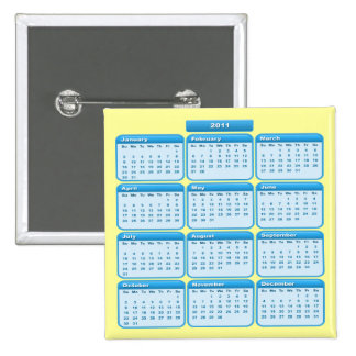 2011 Button Calendar Sky Blue
