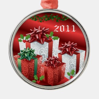 2011 Christmas Presents Silver-Colored Round Decoration