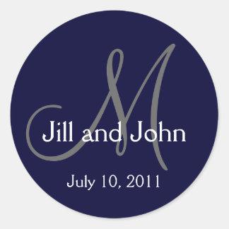 2011 Monogram Wedding Names Save Date Navy Sticker